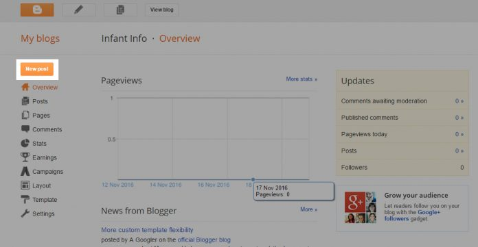 how to create a blog for free on google